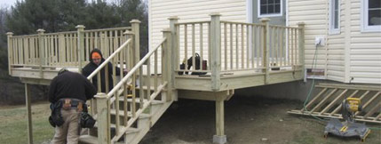 Our experienced crew installs a new deck in Prospect.